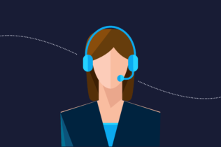 Female agent with headset graphic
