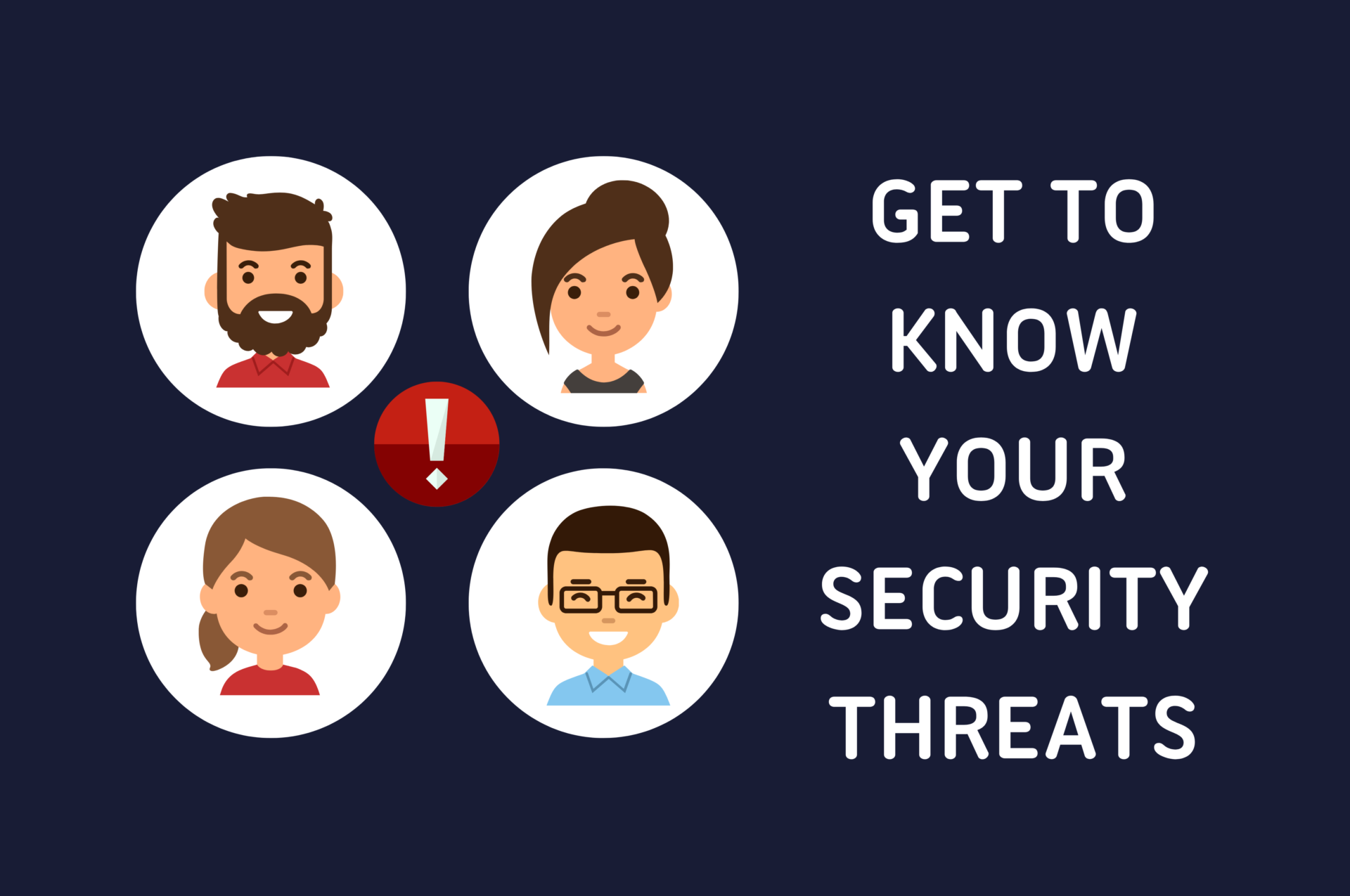 Faces representing security threats with a warning exclamation mark in a red circle.