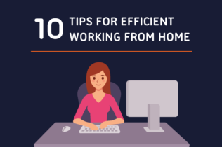 """Title """"10 Tips for Working from Home"""" with graphic of woman sitting at desk below title"""