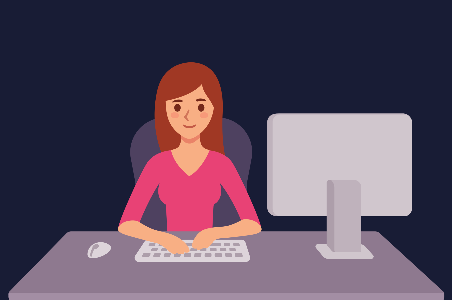 Graphic of woman at desk, working on computer.