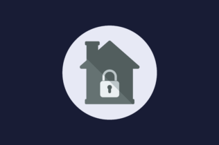 House and lock graphic for Securing Customer Data While Working Remotely Webinar