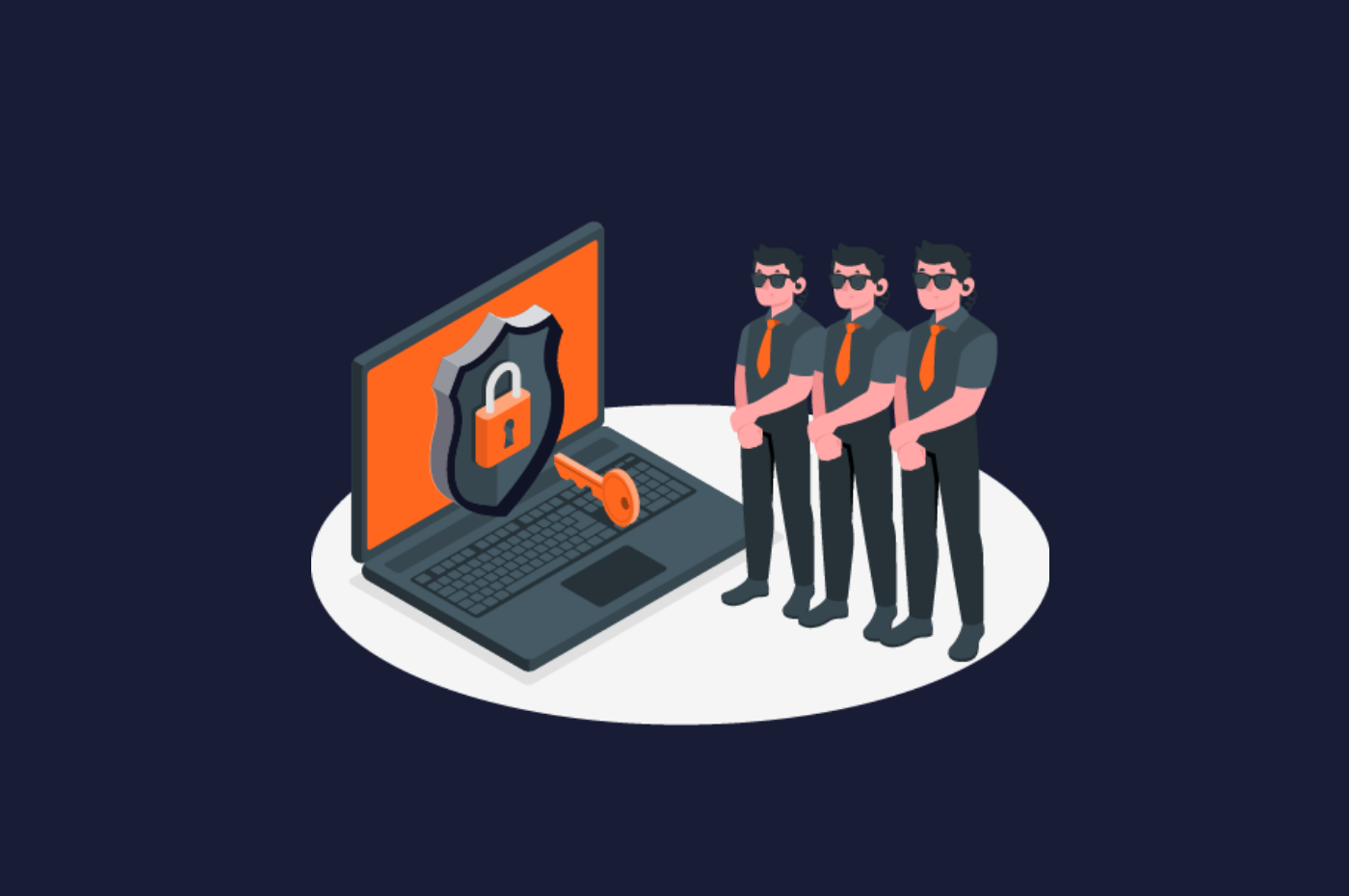 Row of men standing guard in front of a computer with a lock and key in front of the computer. Representing an illustrated version of a human firewall.