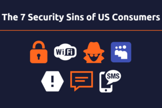 Icons representing the 7 security sins of US consumers
