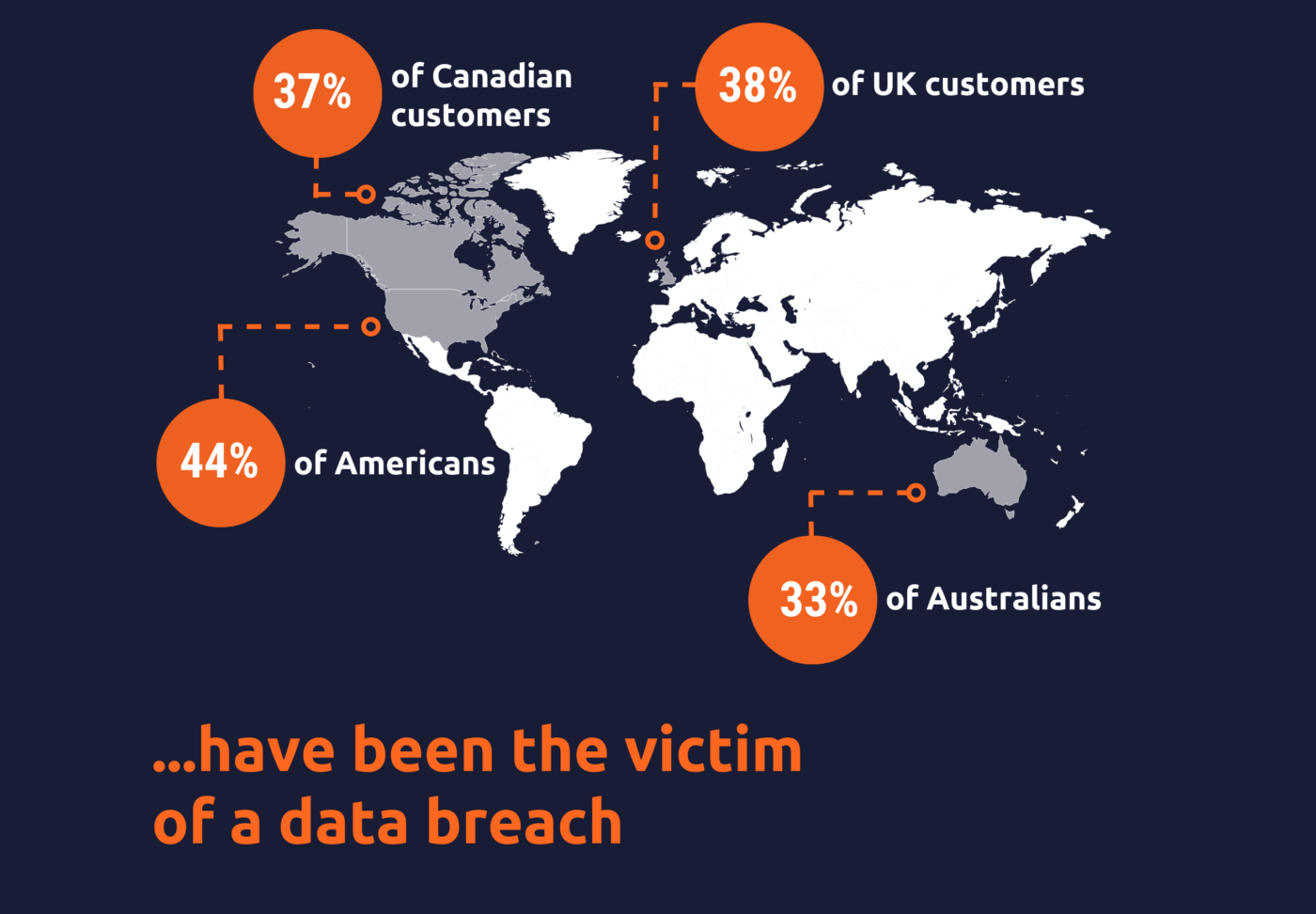 Map of world showing percent of citizens who have been victim of a data breach
