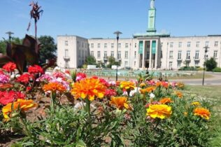 Flowers in front of Waltham Forest Council.