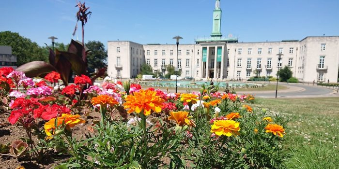 Flowers in front of Waltham Forest City Council.