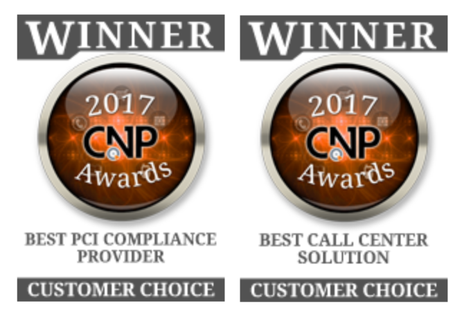 Graphic for 2017 Winners of CNP Awards in Best Call Center Solution and Best PCI Compliance Provider categories