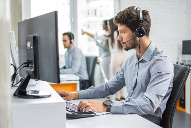 Male contact centre agent