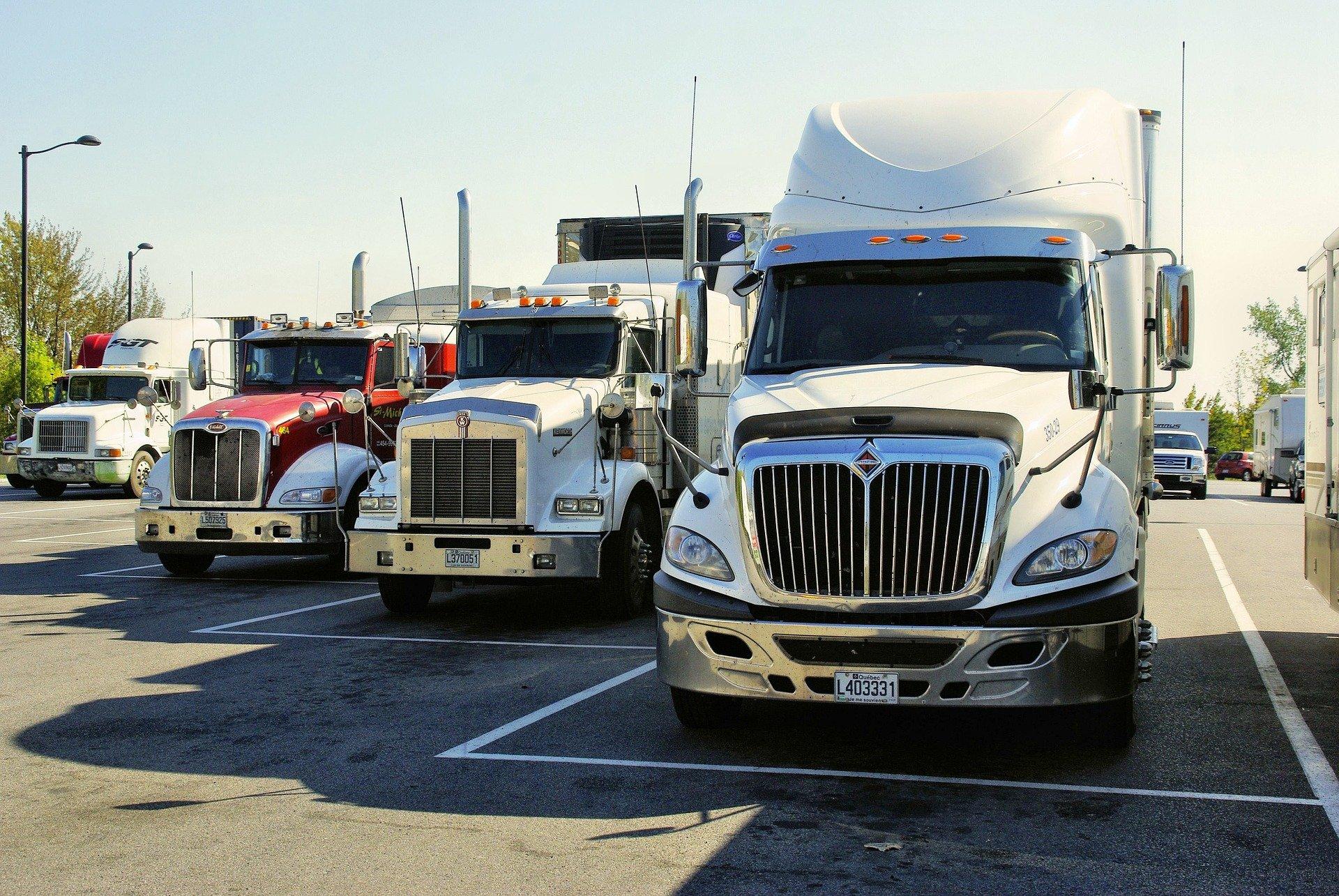 Trucks in parking lot
